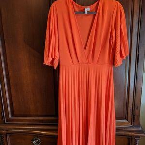 ASOS orange jersey pleated dress